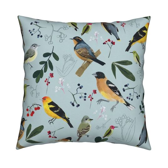 Repeating pattern of Oregon birds. Surface design. Home decor