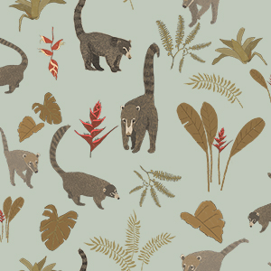 Lively coatimundi troop on light blue background with rainforest plants and leaves. Pattern, surface design.